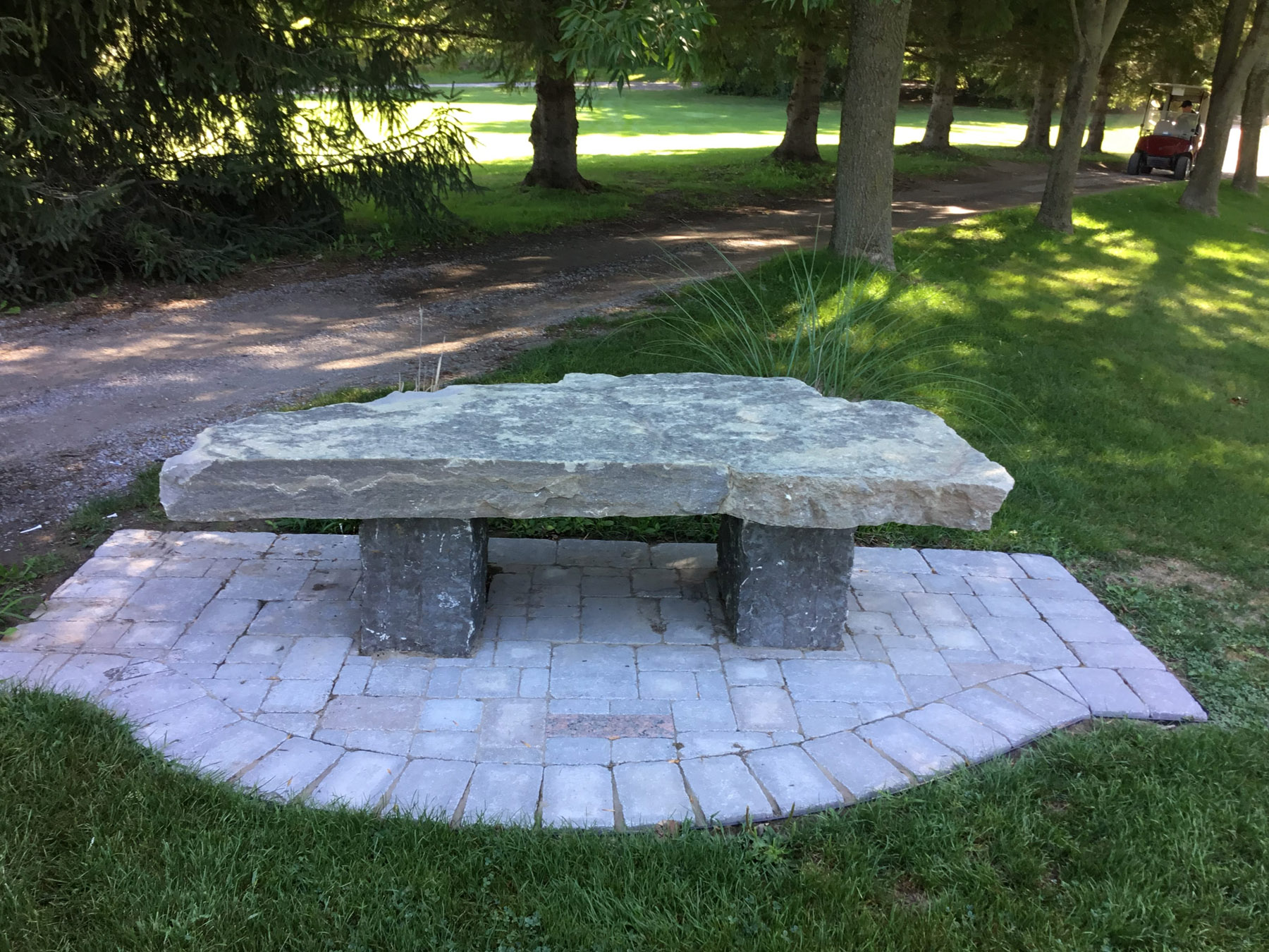 landscaping stone bench